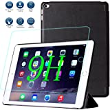 iPad Air 2 ケース、iPad Air 2 強化ガラス【MYLB】iPad Air2 ケース 高品質 PU ケース超耐磨 超薄型スリム+9H 0.33mm 強化ガラス(ブラック)