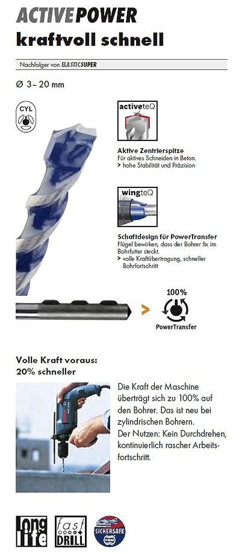 HAWERA Betonbohrer /Ø 10mm x100x150mm active Power hammerfester Hochleistungsbetonbohrer 266169 gb