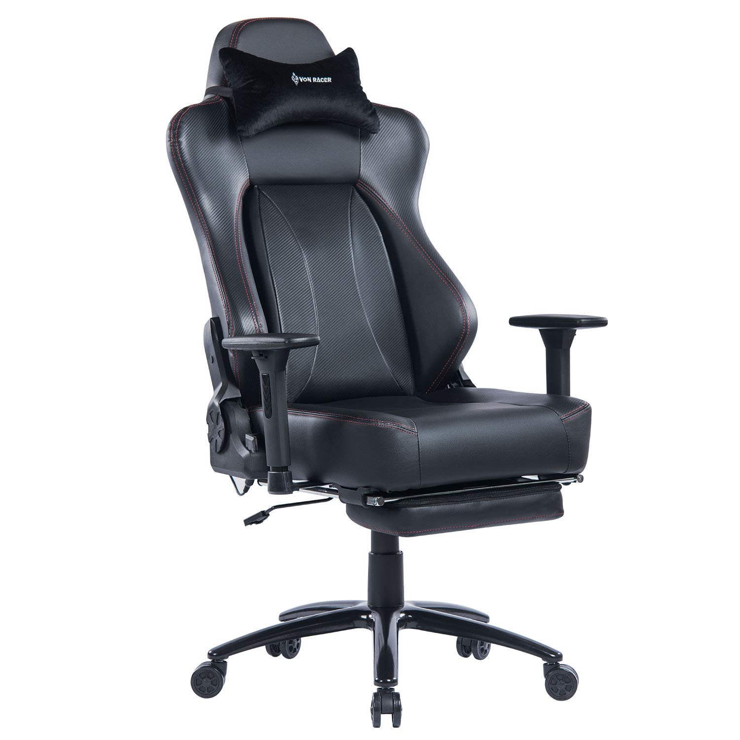 VON RACER Big & Tall 350lbs Massage Gaming Chair with Retractable Footrest - Adjustable Back Angle and Arms Ergonomic High-Back Leather Racing Executive Computer Desk Office Chair Metal Base, Black by VON RACER