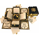Crack of Dawn Crafts CR3 Layered Romantic Explosion Box Leopard Print(Set of 12) Gold:Black