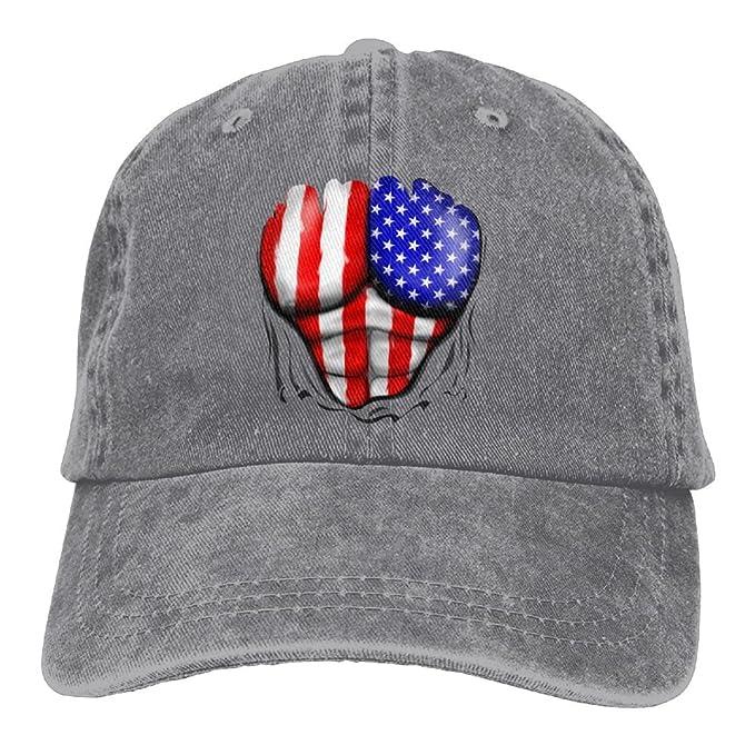 America Flag Ripped Muscles Denim Hat Female Great Baseball Hat at ... f4f36cd84ca
