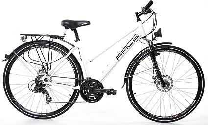 Bicicleta de ciudad para mujer, 28, aluminio, dinamo de buje Shimano, 21 velocidades, blanca: Amazon.es: Deportes y aire libre