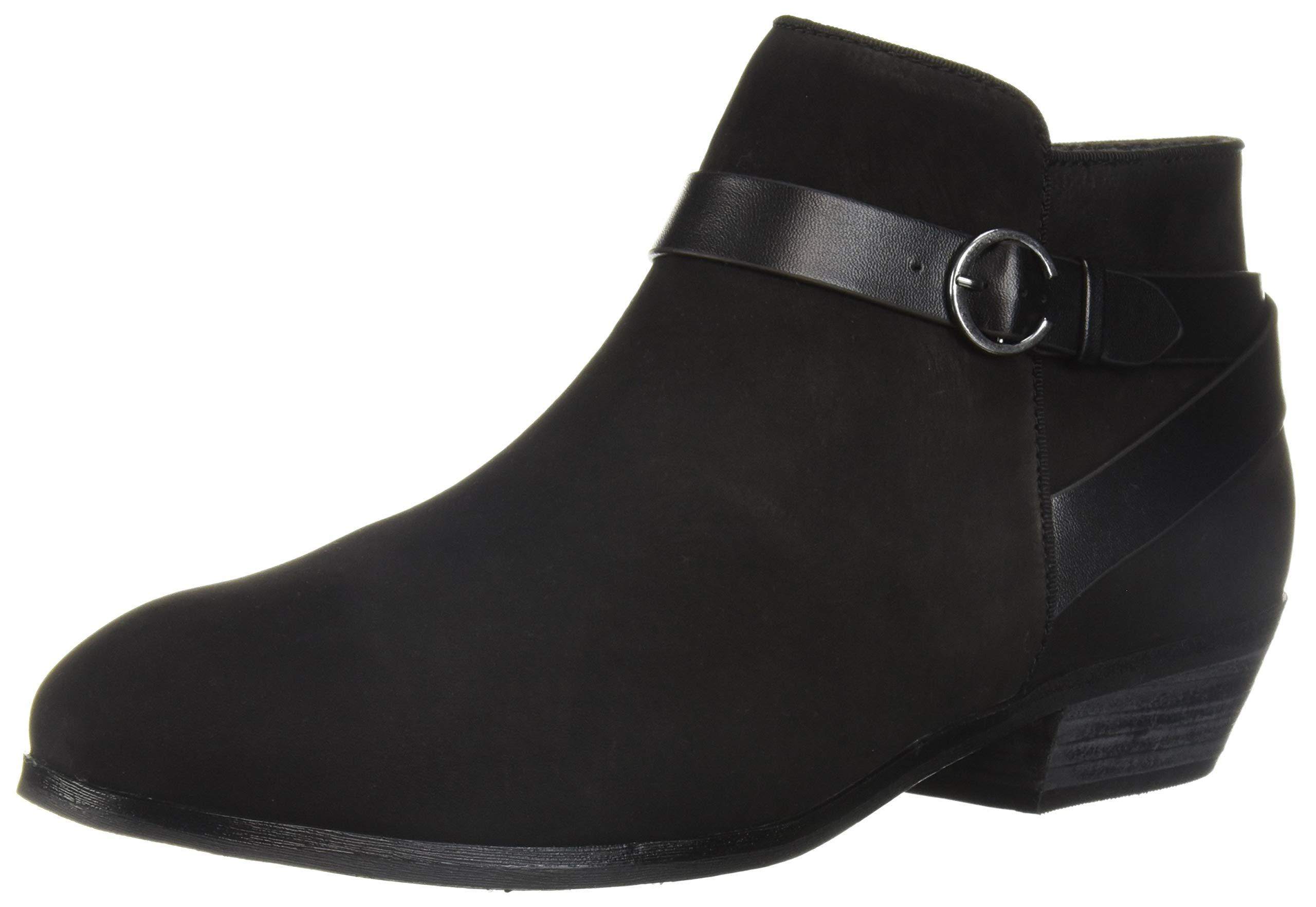 SoftWalk Women's Raven Ankle Boot, Black Nubuck, 9.0 M US by SoftWalk