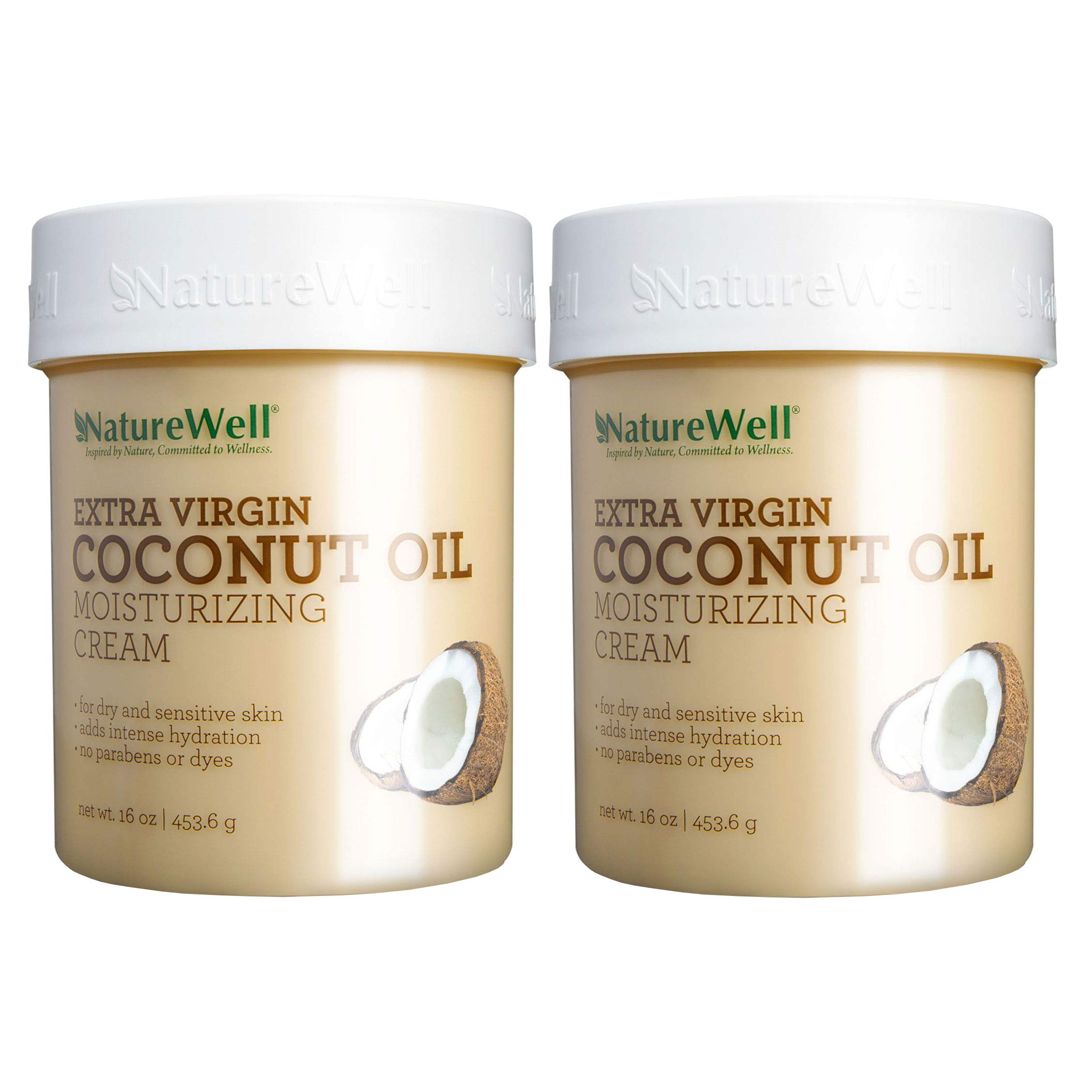 NatureWell Extra Virgin Coconut Oil Moisturizing Cream, 16 oz. Pack of 2 by NATURE WELL