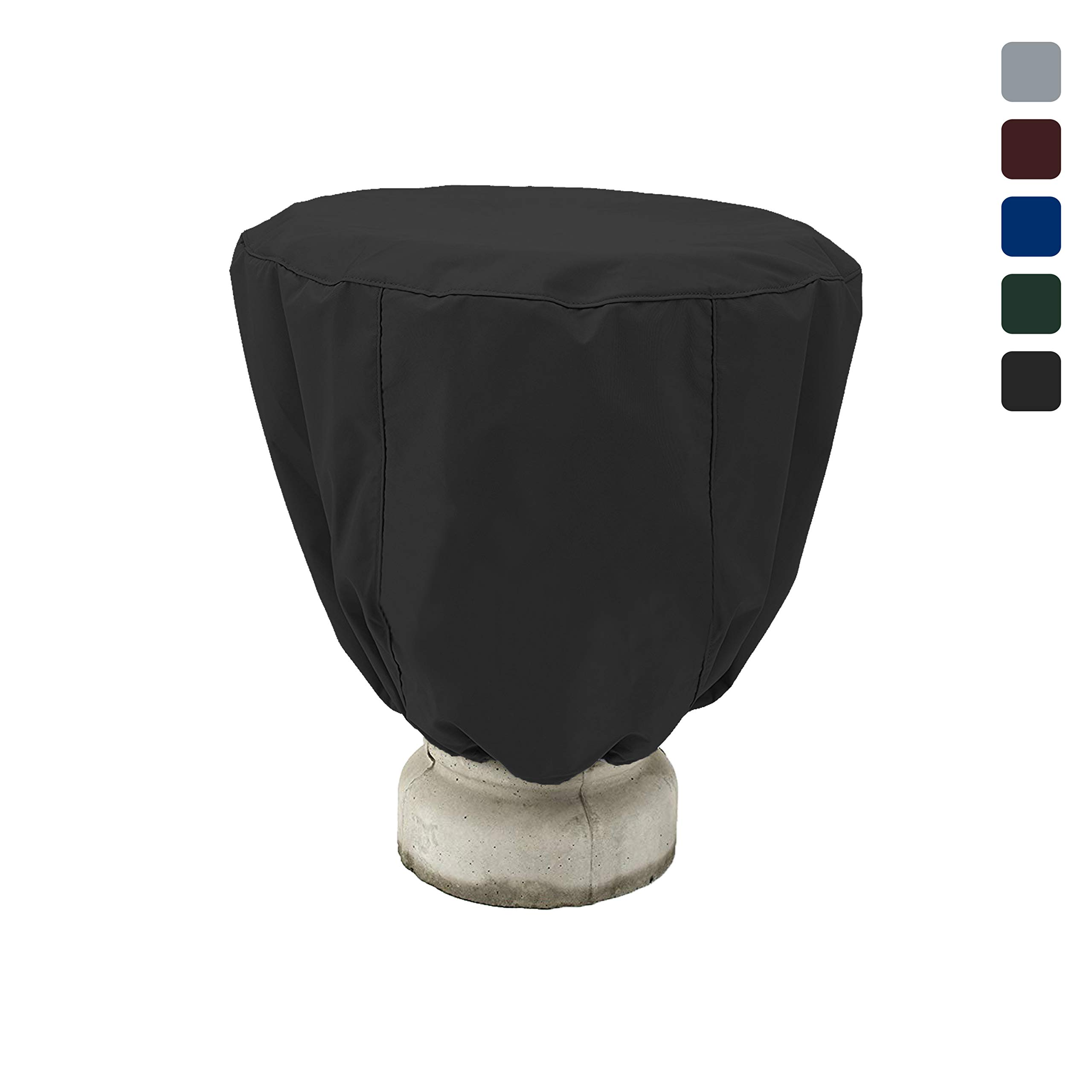 COVERS & ALL Bird Bath Cover 18 Oz Waterproof - Customize Cover with Any Size - 100% UV Weather Resistant Outdoor Cover with Elastic and Drawstring for Snug Fit (32'' Dia x 24'' H, Black)