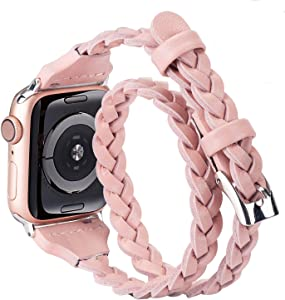Moolia Double Leather Band Compatible with Apple Watch 42mm 44mm, Women Girls Woven Slim Leather Watch Strap Double Tour Bracelet Replacement for iWatch SE Series 6 5 4 3 2 1 (Rose Pink, 42mm/44mm)