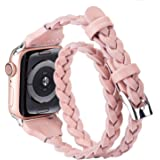 Moolia Double Leather Band Compatible with Apple Watch 42mm 44mm, Women Girls Woven Slim Leather Watch Strap Double Tour Brac