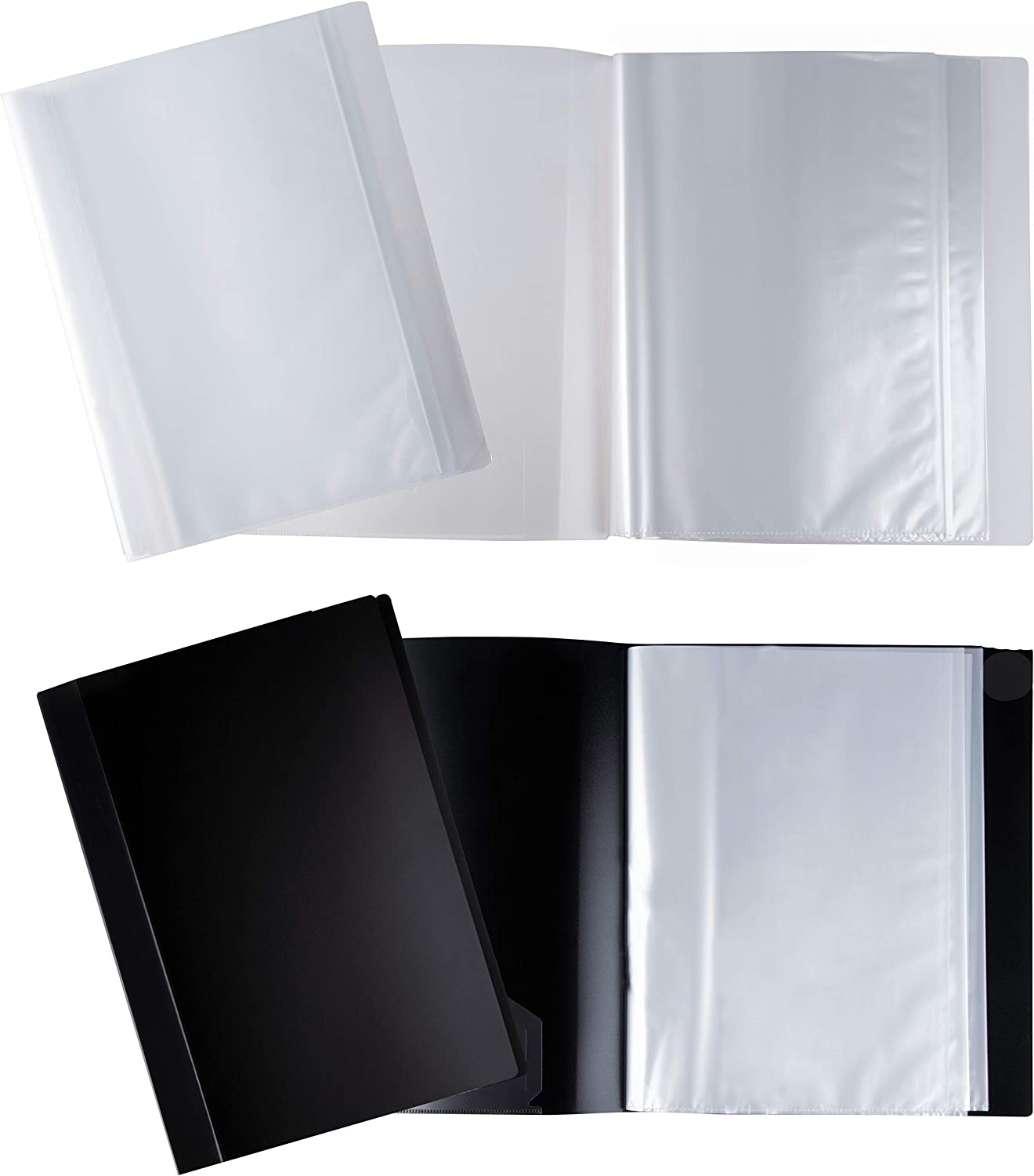 Presentation Book - 4-Pack Display Book with 40-Pocket Sheet Protector, Portfolio Folder for Document, Sheet Music, Art, for 8.5 x 11-Inch Inserts, 2 Clear and 2 Black Folders