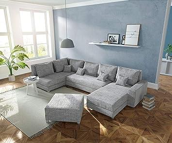 Delife Couch Panama Hellgrau Ottomane Links Longchair Rechts Mit