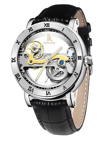 Alienwork IK Reloj Mecánico Automático Relojes Automáticos Hombre Mujer Piel de vaca negro Analógicos Unisex plata