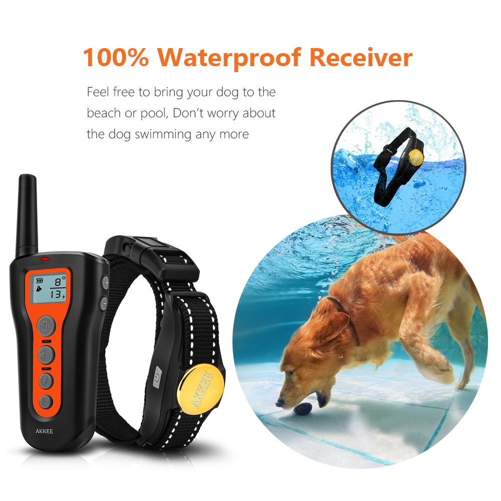 AKKEE 2 Dog Training Collars Rechargeable & Waterproof Electric Dog Shock Collar Remote 1000ft Beep Vibration Shock Training, 2in1 Pet Trainer E-Collars Two Dogs Small Medium Large Dog