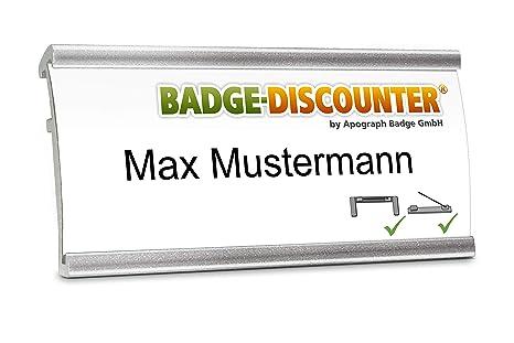 2af3bd19816b 5 Targhette badge porta-nome Badge-Discounter NMSG in alluminio con spilla  per vestiti