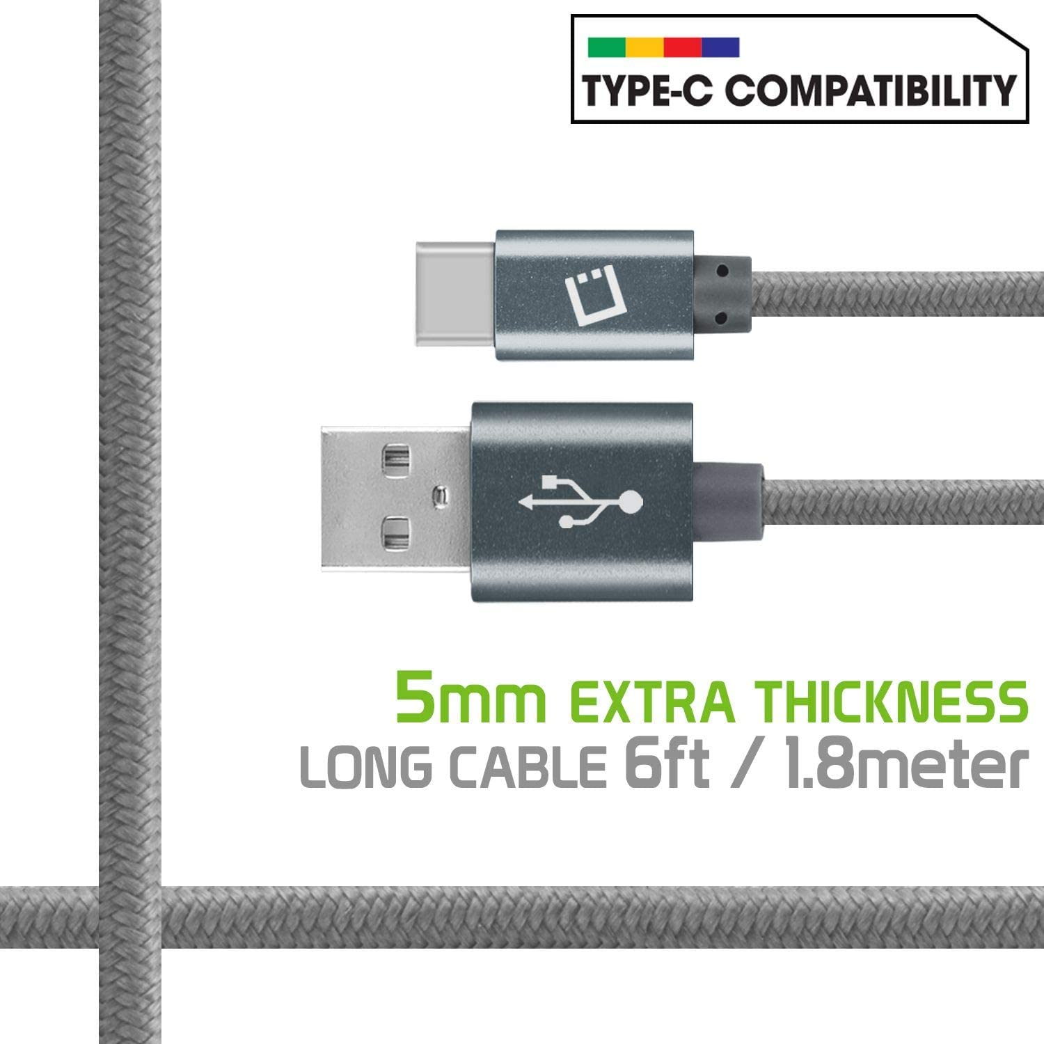 Cellet USB Cable Compatible with Cricket Influence USB-C to USB-A Fast Charging Sync Cable 6 feet//1.8 Meters Heavy Duty Braided USB Type C
