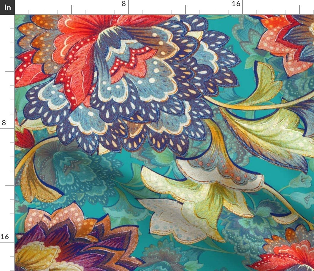 Spoonflower Fabric - Chintz Emerald Aqua Nature Chinoiserie Traditional Floral Vintage Red Printed on Upholstery Velvet Fabric by The Yard - Upholstery Home Decor Bottomweight Apparel