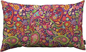 HOSNYE Hippie Vivid Pattern Throw Pillow Cover Colorful Flowers Peace Symbol Mushrooms and Paisley Linen Fabric for Couch Bed Sofa Car Waist Cushion Cover 12 x 20 inch Pillow Case