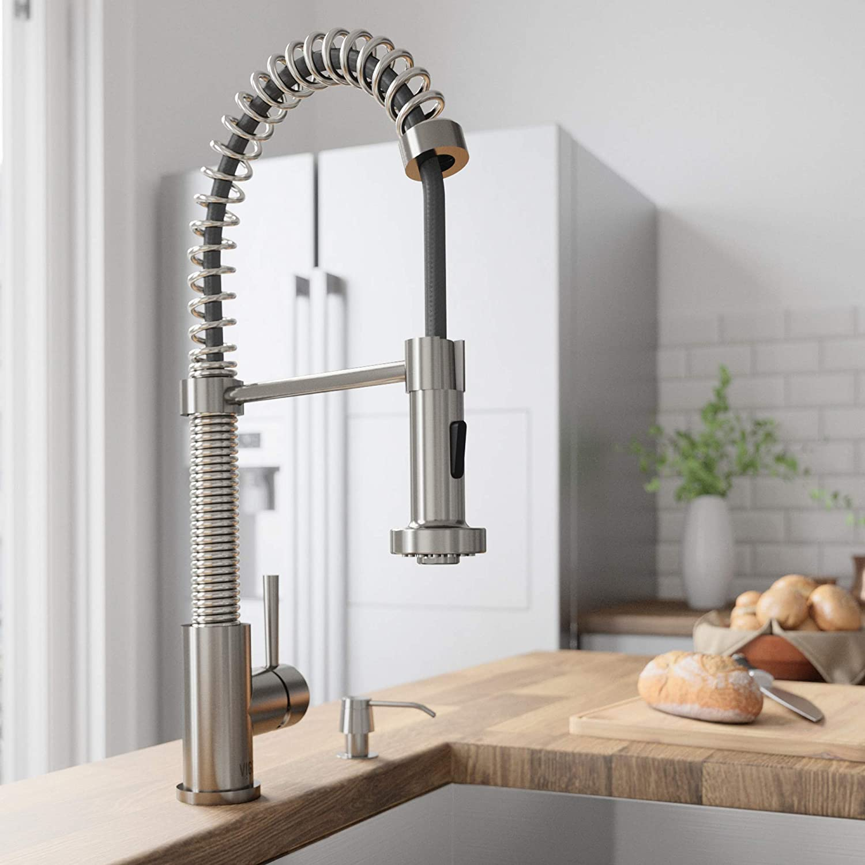 VIGO VG02001ST Edison Brass Single Handle Pull Down Sprayer Kitchen Sink  Faucet, Centerset Single Hole Faucet, Swivel Head Design, Plated Stainless  ...