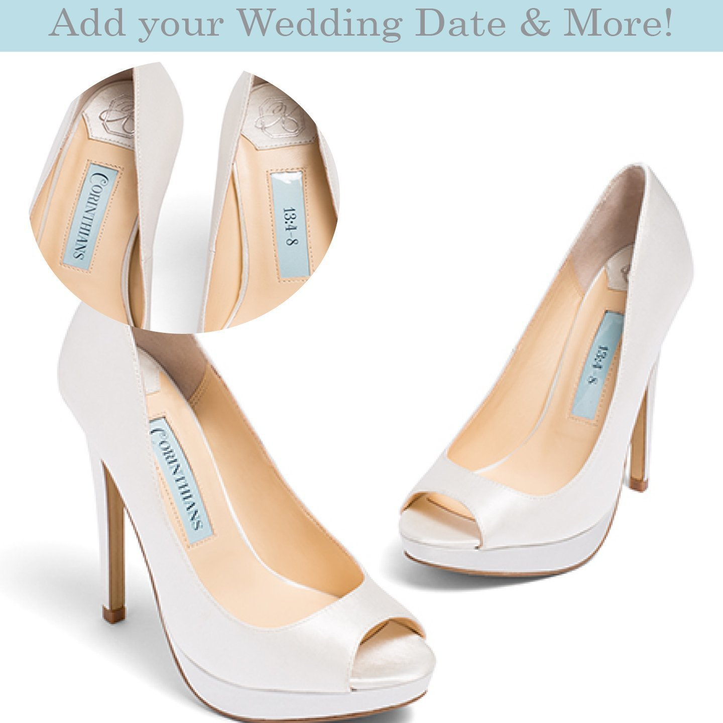 b0048416a20d Amazon.com  Bridal Womens Ivory Satin Peep Toe Wedding Bridal Shoes -  Personalization available patent pending  Handmade
