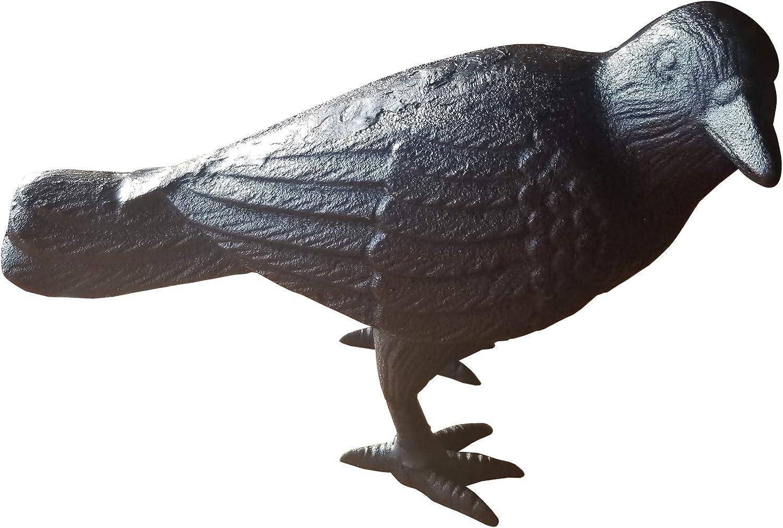 NACH Decorative Cast Iron Crow with Head to Side, Black