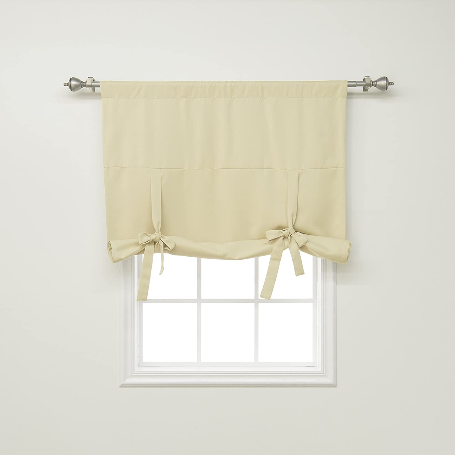 Best Home Fashion Thermal Insulated Blackout Tie-Up Window Shade 1 Panel Rod Pocket Chocolate 42W x 63L - BEWBU BO-TIE-UP-SOLID-CHOCOLATE