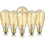 6-Pack Edison Bulb, DecorStar Edison Light Bulbs, Antique Vintage Squirrel Cage Filament Bulb, 60W, 2200K Amber Warm, 230 Lum