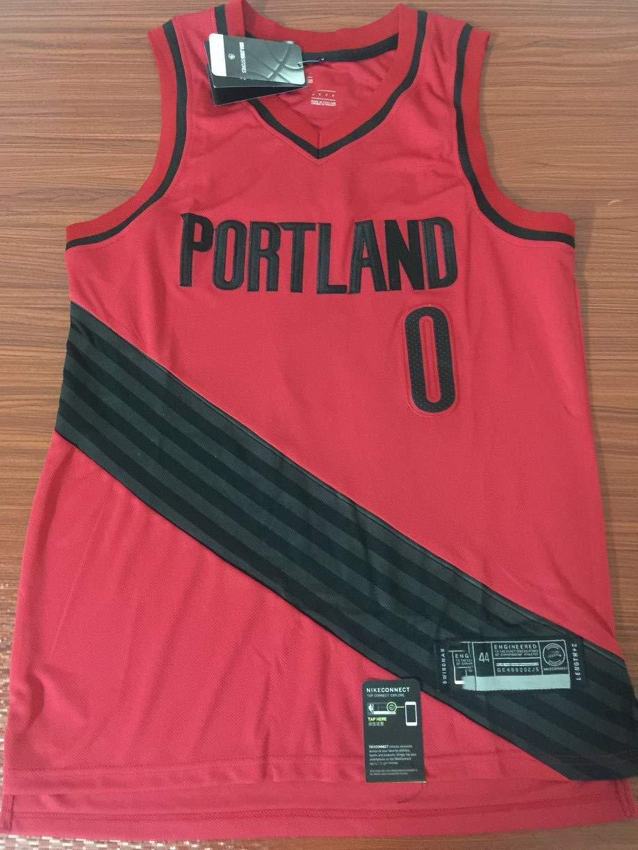 NBA Portland Trail Blazers 0# Lillard Bordada Malla De Baloncesto Swingman Jersey,Red,S:170cm//50~65kg BALL-WHJ Camiseta para Hombres De La NBA