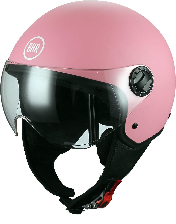 Bhr 48422 casco moto demi-jet linea one 801, multicolore (rosa opaco)