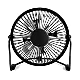 USB Mini Desktop Fan, Small Quiet 4 Inch Metal Blade Desk Cooling Fan with 360 Degree Rotation for Home Office (Black)