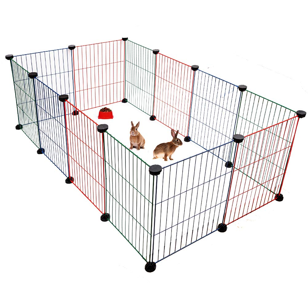 BINGPET Pet Playpen for Small Animals - Metal Wire Pet Fence for Rabbits, Guinea Pigs, Puppies - Mixed Colors Indoor Outdoor Cage (12 Panels, 15.7 X 11.8 Inches) by BINGPET