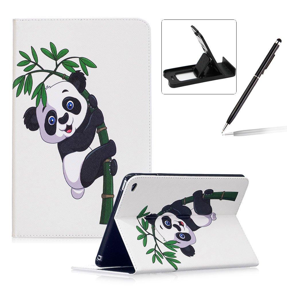 Herzzer Coque en PU Cuir pour Apple iPad Mini 1 / 2 / 3 Tablette Housse Etui Flip Case ave Stand Fonction Cartes de Crédit Slot Hull Wallet Cover Anti Scratch Soft Silicone Inner Etui de Protection -- Motif Bambou Panda