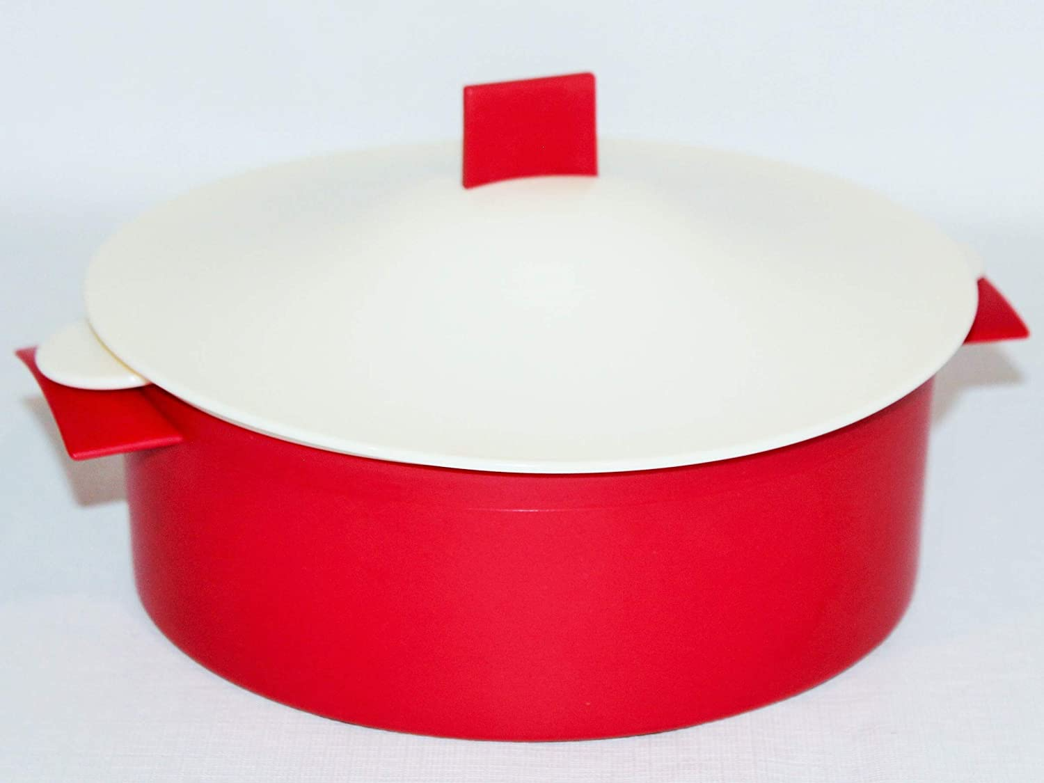 Tupperware Microsteamer 6 Cup Round Microwave Steamer Red Ivory