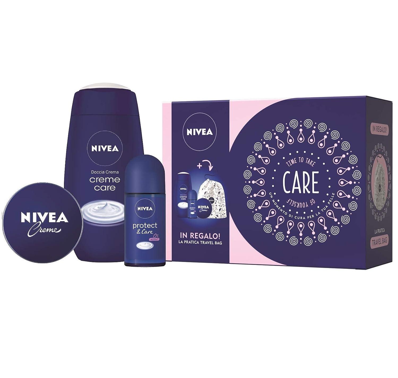 Nivea Care Kit Set Regalo Donna con Nivea Crème 75 ml, Doccia Crema Crème Care 250 ml, Deodorante Protect & Care Roll-on 50 ml e Travel Bag Beiersdorf 41920