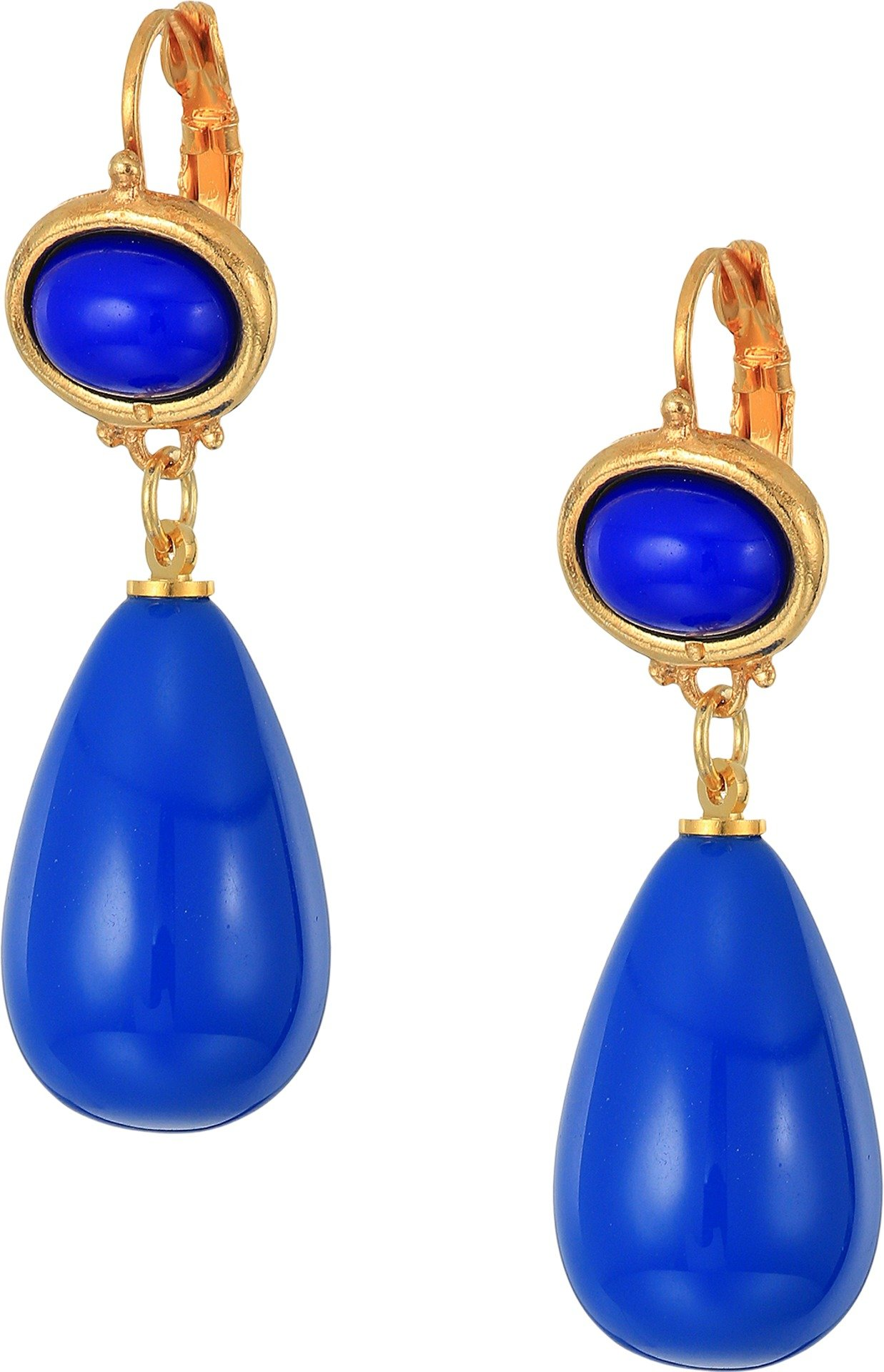 Kenneth Jay Lane Women's 1'' Lapis Top Lapis Drop Eurowire Earrings Lapis One Size