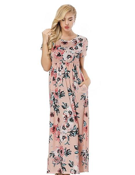 e4005afab FeelinGirl Mujer Vestido Estampado Largo Falda Cintura Alta Verano
