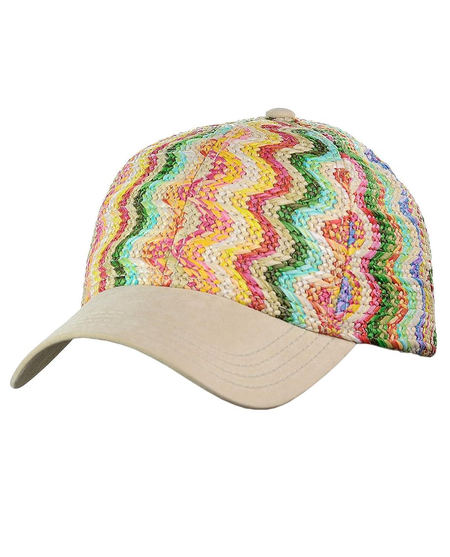 C.C Multicolored Paper Straw Weaved Adjustable Precurved Baseball Cap Hat