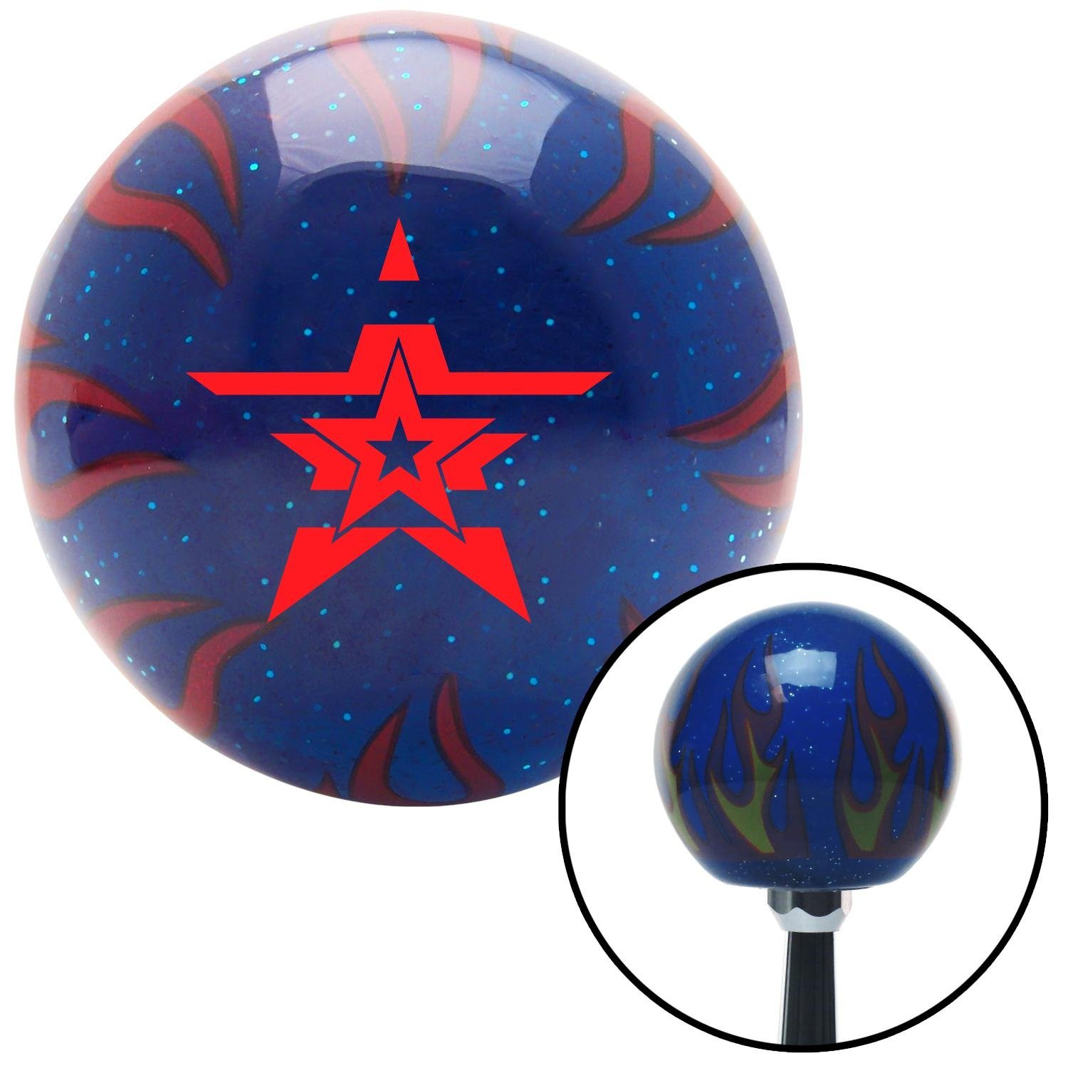 American Shifter 250165 Blue Flame Metal Flake Shift Knob with M16 x 1.5 Insert Red Stars with Stripes