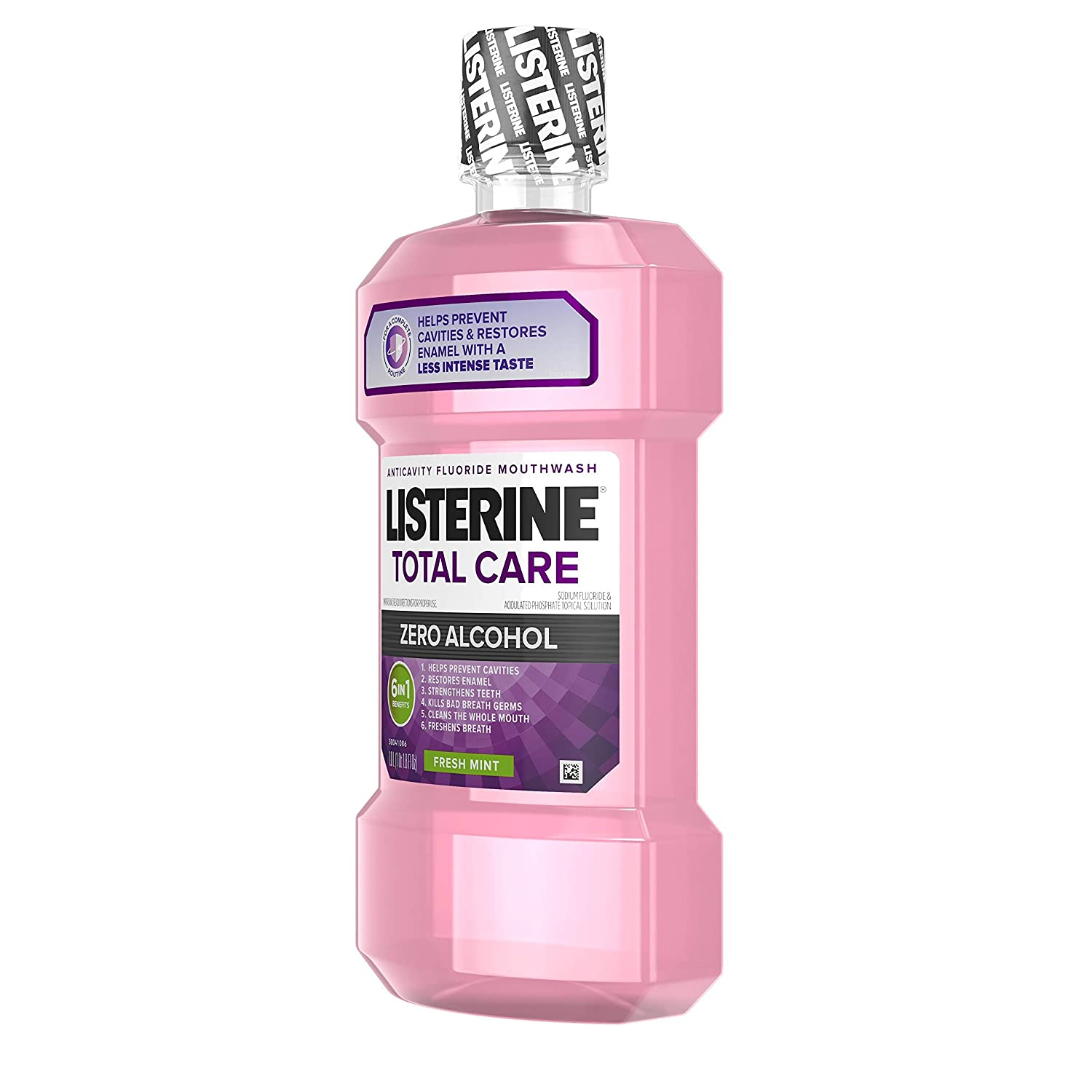 Listerine Total Care Alcohol-Free Anticavity Mouthwash, 6 Benefit Fluoride Mouthwash for Bad Breath and Enamel Strength, Fresh Mint Flavor, Twin Pack, 2 x 1 L: Beauty