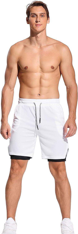 FITTOO Pantaloncini Sportivi Uomo 2 in 1 Pantaloncini da Allenamento con Tasche Pantaloncini da Bagno Asciugatura Rapida per Palestra Fitness Beach Running