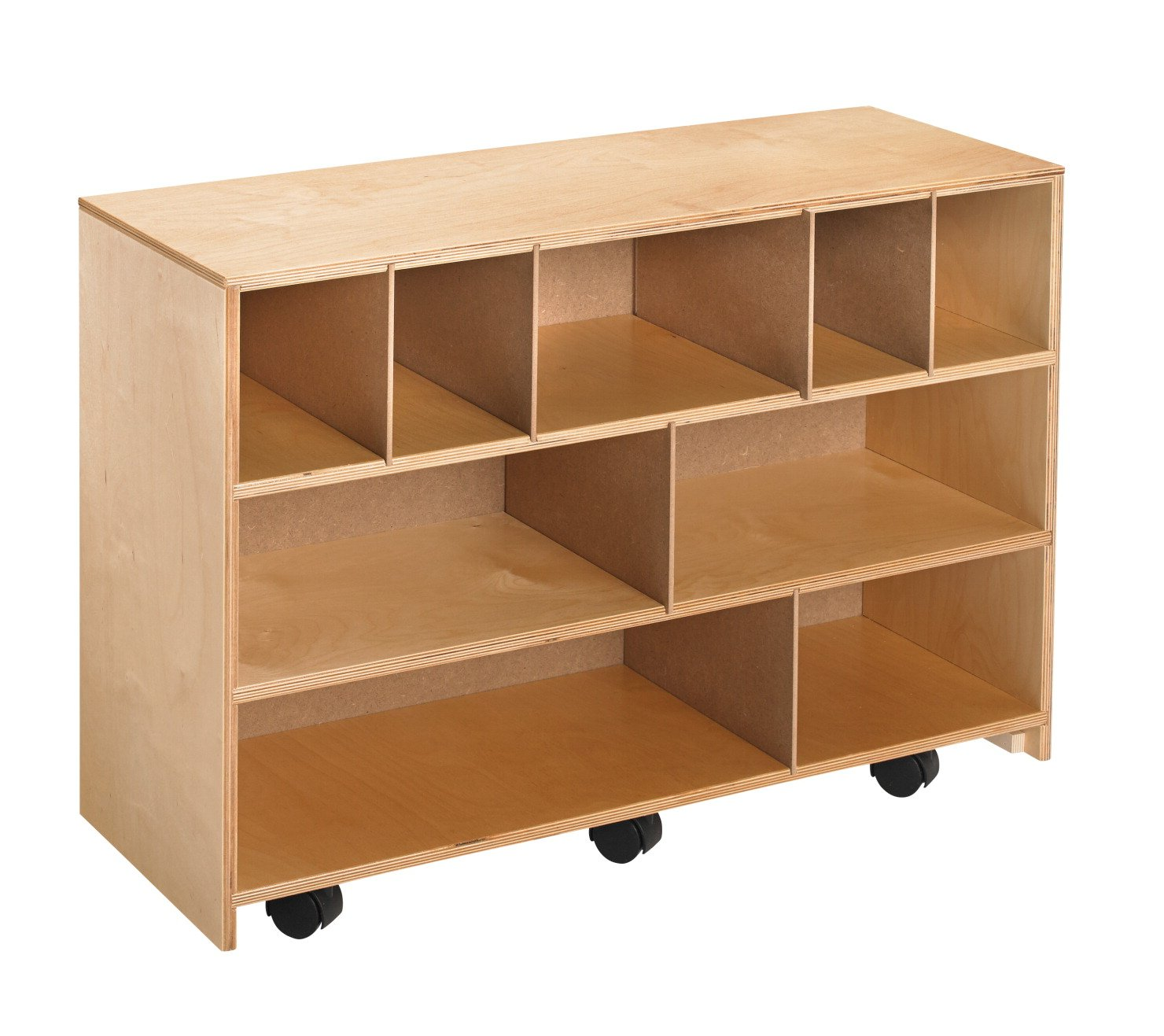 Childcraft 205879 Mobile Block Storage Cabinet, Wood, 35-3/4'' x 13'' x 24-3/4'', Natural Wood Tone
