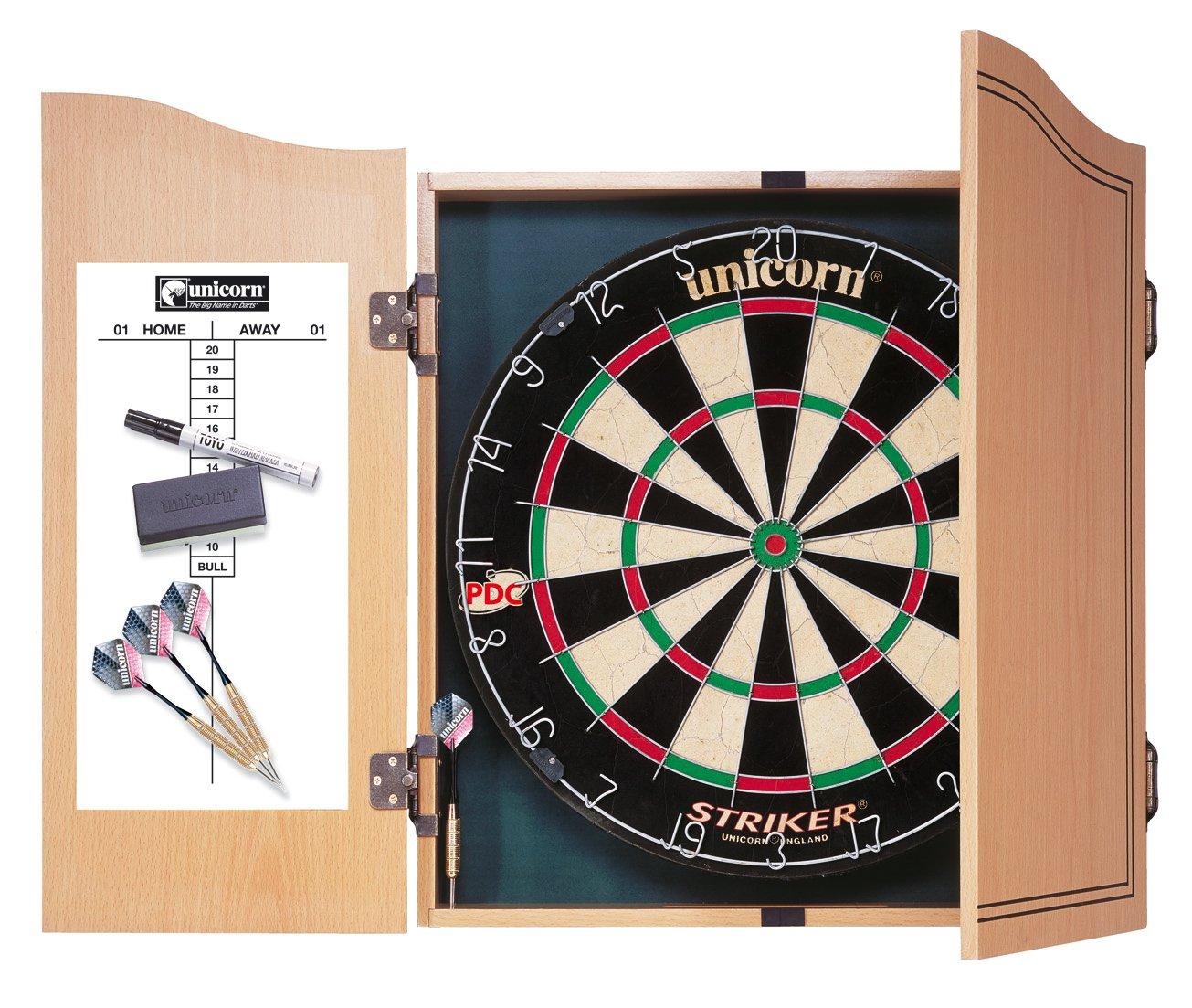 Unicorn Striker Home - Diana con marcador y dardos negro, blanco, azul, rojo y marrón Talla:talla única Unicorn Dartboard 46136