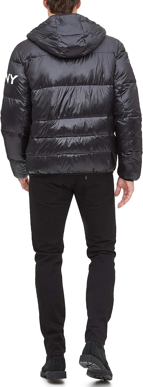 Standard and Big /& Tall Down Alternative Coat DKNY mens Water Resistant Ultra Loft Hooded Logo Puffer Jacket