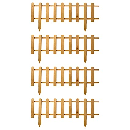 front yard fence Floranica Pack of 4 x Wooden Panel Picket Border ...