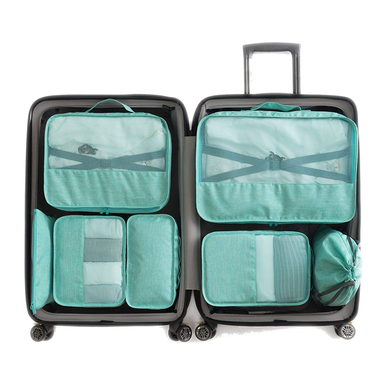 7 Pcs/Set Travel Storage Bag Set for Clothes Tidy Organizer Wardrobe Suitcase Organizer Bag Shoes Bag Travel Accessories,Blue