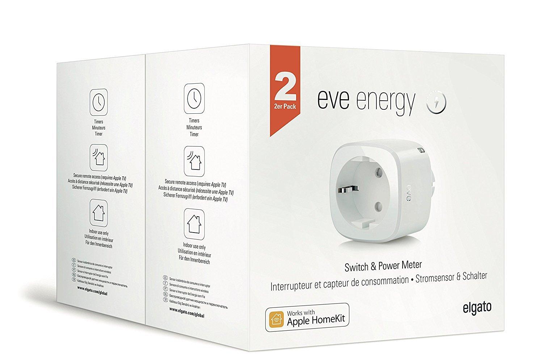 Eve Energy 2er-Set - Smarte Steckdose mit Verbrauchsmessung, schaltet Gerä te ein und aus, Sprachsteuerung, Bluetooth Low Energy (Apple HomeKit) 1EE308307002