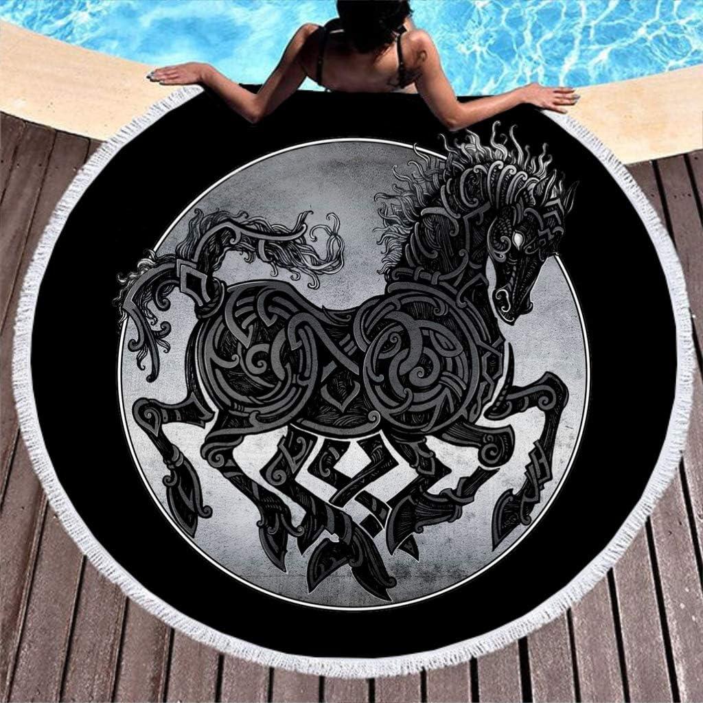 MINNOMO Toalla de Playa Redonda borlas celtas Odin Caballos Nudos Arte impresión año Redondo Flecos Playa Toalla de Playa, Blanco, 150 cm