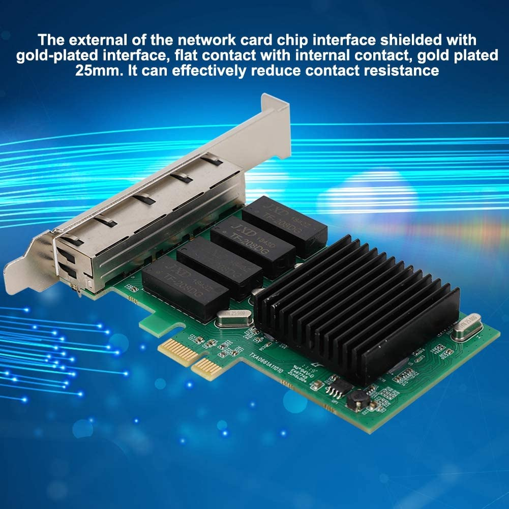 Gigabit Ethernet Card for Intel350 4 Port 811 Gigabit PCIE 1X Network Interface Card NIC for Desktop Server