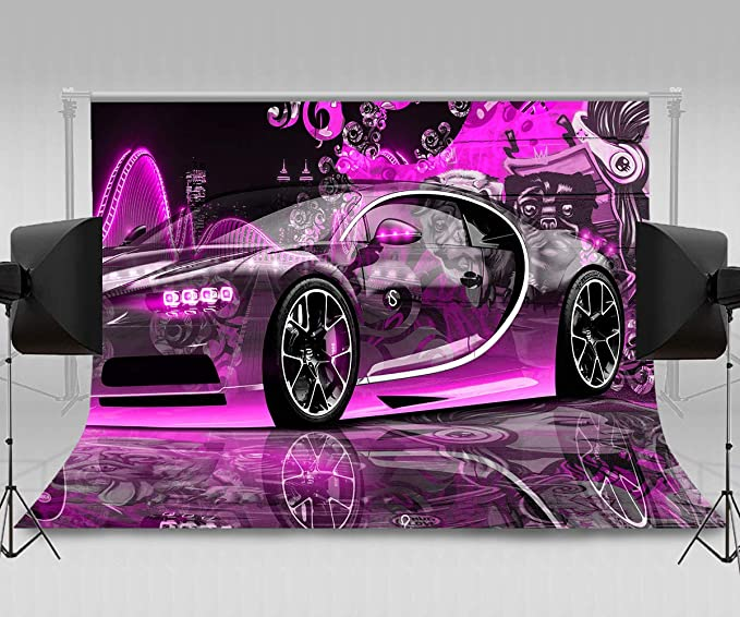Customized Red Dragster Automobile in Graphic Style Speed Fast Vehicle Powerful Background for Photography Kids Adult Photo Booth Video Shoot Vinyl Studio Props Cars 10x12 FT Photography Backdrop