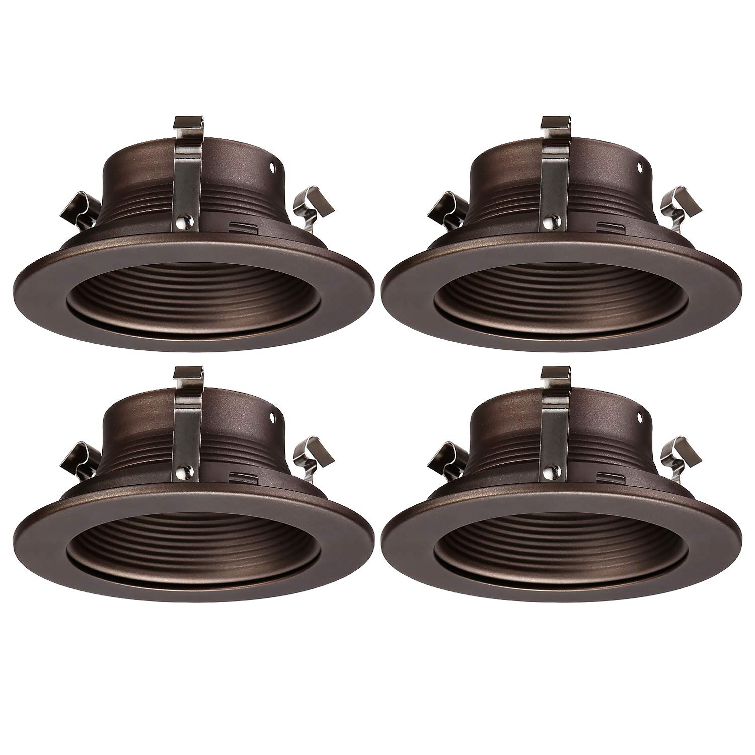 """TORCHSTAR 4 Inches Recessed Can Light Trim, Oil Rubbed Bronze Metal Step Baffle Trim, for PAR20, R20 Light Bulbs, for 4"""" Recessed Cans, Halo/Juno Remodel Recessed Housing, Pack of 4"""