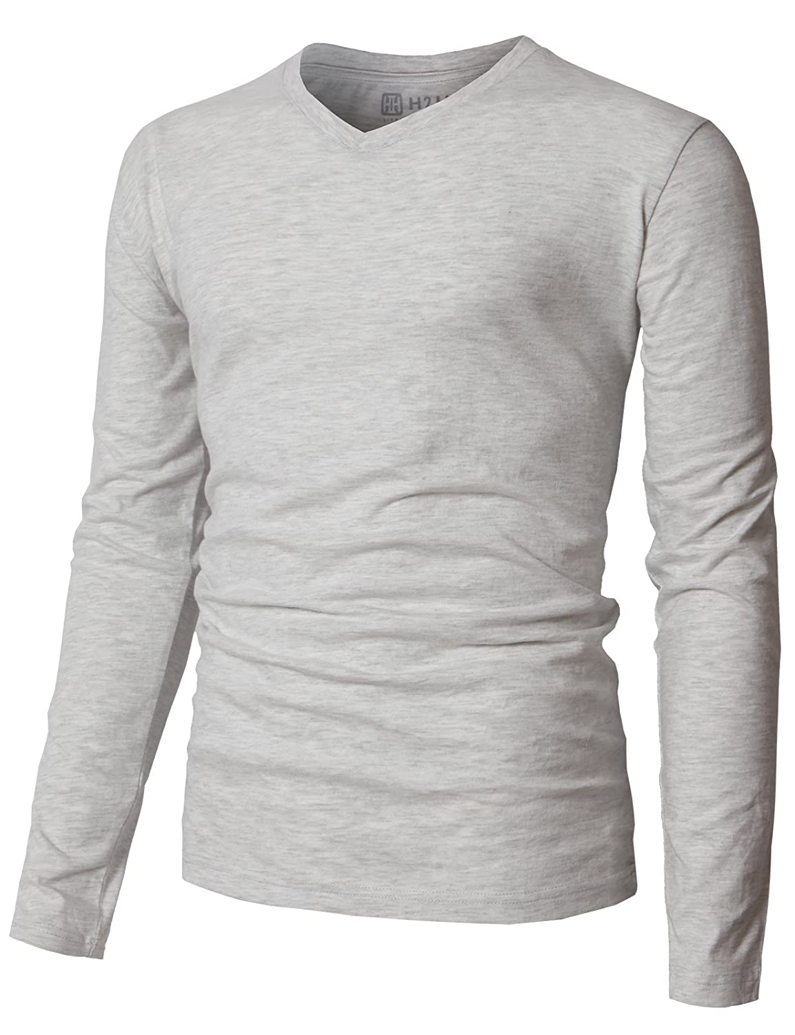 H2H Mens Casual Long Sleeve V-neck T-Shirts Premium Soft Cotton Fabric KMTTL0374