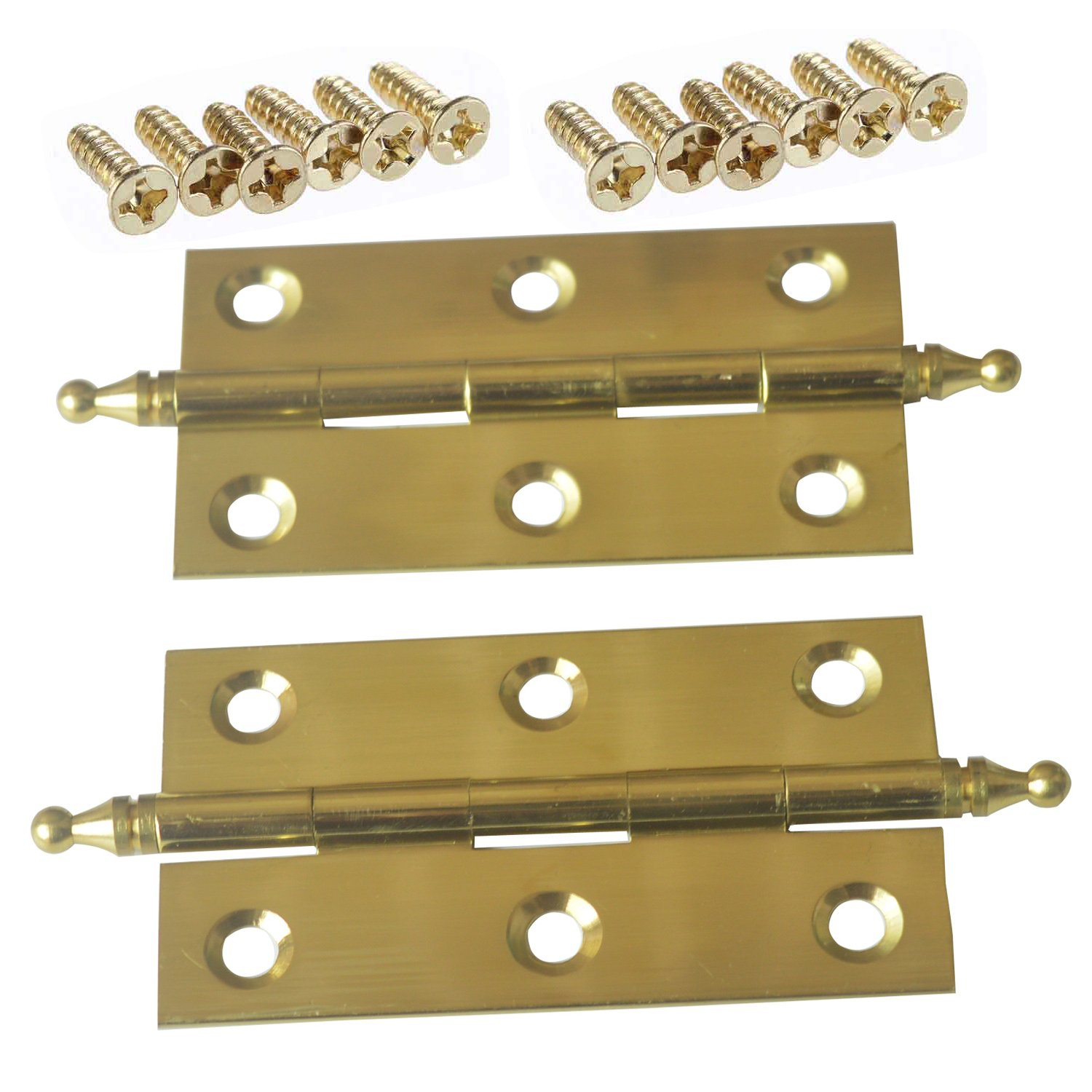 2.5 inch Pair of Solid Brass Butler Tray Hinge With Screws Satin Finish For Folding Tables - Gold