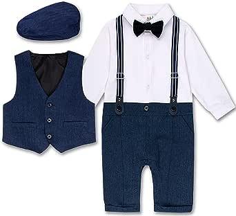 A&J DESIGN Baby Boys Outfit Set, 3pcs Gentleman Romper & Vest & Berets Hat